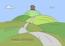 Paese rurale dei cottage Fotografie Stock
