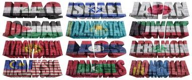 Paesi asiatici (dalla I M) alle parole della bandiera Fotografie Stock Libere da Diritti