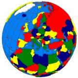 Paesi di Europa sul globo Fotografie Stock