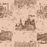 Paesi di viaggio del modello di marrone del disegno di schizzo royalty illustrazione gratis
