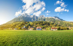 Paesino di montagna in Austria, Leogang Fotografie Stock