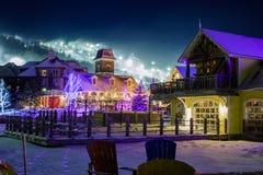 Paesino di montagna blu nell'inverno Fotografia Stock Libera da Diritti