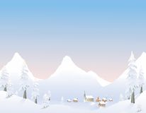 Paesino di montagna di inverno royalty illustrazione gratis
