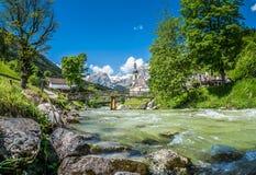 Paesino di montagna di Ramsau, terra di Berchtesgadener, Baviera, Germania Immagine Stock Libera da Diritti