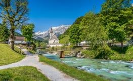 Paesino di montagna di Ramsau, terra di Berchtesgadener, Baviera, Germania Fotografie Stock
