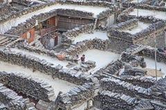 Paesino di montagna Marpha in Himalaya, Nepal. Fotografie Stock Libere da Diritti