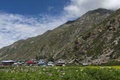 Paesino di montagna in valle di Spiti Fotografie Stock Libere da Diritti