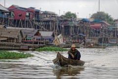 Paesino di pescatori della linfa di Tonle, Cambogia Fotografia Stock