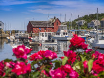 Paesino di pescatori della Nuova Inghilterra Fotografia Stock Libera da Diritti