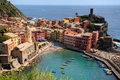 Paesino di pescatori di Cinque Terre Fotografie Stock Libere da Diritti