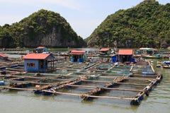 Paesino di pescatori di galleggiamento Fotografia Stock