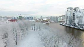 Paesino di pescatori innevato di Kaliningrad video d archivio