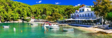 Paesino di pescatori pittoresco Agnontas, isola di Skopelos, Grecia immagine stock