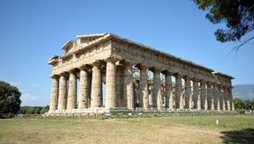 Paestum寺庙,褶皱藻属,意大利 库存照片