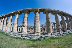 Paestum. Fish eye view of greek temple in Paestum(Southern Italy Stock Images