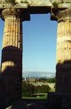 Paestum 2 columns. Temple columns in Paestum, Italy Stock Image