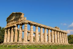 Paestum. A view of Paestum Temple, Salerno, Italy Royalty Free Stock Photo