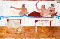 Paestum, affreschi antichi nella tomba dell'operatore subacqueo fotografia stock libera da diritti