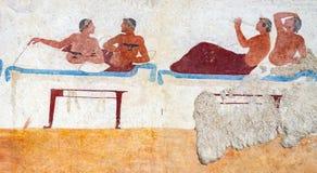 Paestum, affreschi antichi nella tomba dell'operatore subacqueo immagini stock libere da diritti