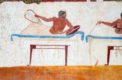 Paestum, affreschi antichi nella tomba dell'operatore subacqueo immagine stock libera da diritti