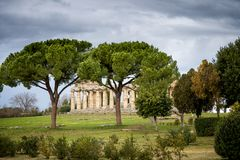Paestum. Ancient roman temple of Ceres Athena at Paestum, Italy stock image