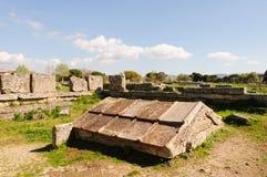 Tempie greche di Paestum - Poseidonia fotografie stock
