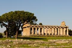 Griechische Tempel von Paestum - Poseidonia Stockfotografie