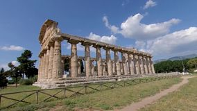 Paestum, Italy, June 25, 2019. Temple of Athena, ancient Greek temple, 4K. stock video footage
