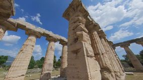 Paestum, Italy, June 25, 2019. Temple of Hera I, ancient Greek temple. stock footage