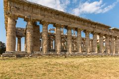 The old temple of Paestum. Paestum, Italy, was a major ansient Greek city on the coast of the Tyrrhenian sea in Great Graecia. The Temples of Paestum was built royalty free stock photography