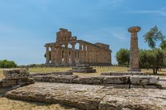The old town of Paestum. Paestum, Italy, was a major ansient Greek city on the coast of the Tyrrhenian sea in Great Graecia. The Temples of Paestum was built in stock photos