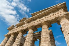 The old temple of Paestum. Paestum, Italy, was a major ansient Greek city on the coast of the Tyrrhenian sea in Great Graecia. The Temples of Paestum was built royalty free stock image