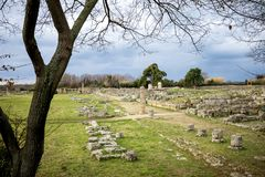 Paestum: Le rovine antiche del resti delle costruzioni religiose della dominazione del greco antico L'Italia fotografie stock