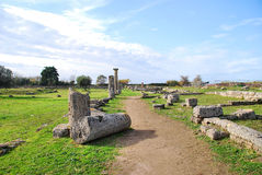 Paestum road with columns Royalty Free Stock Photo