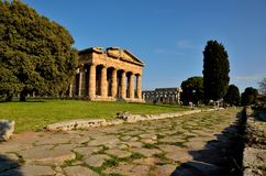 Paestum street during a sunny day royalty free stock photography