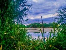 年轻pafantasy风景视图和蓝色上色了剧烈的天堂 库存照片