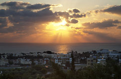 Pafos City Sunset, Cyprus Royalty Free Stock Photography
