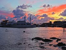 Pafos City sunset, embankment, clouds, ships Cyprus. Pafos City Sunset, embankment, clouds, ships, clouds, bright colors Cyprus Royalty Free Stock Photography