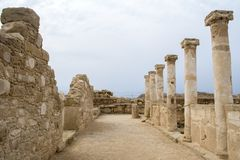 Pafos, Cyprus, archeological site: house of Theseus pillars. Pafos archeological site house of theseus. The mosaics of the House of Theseus lie close to the Stock Photography