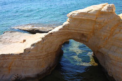 Pafos, Cyprus. Rocky coastline next to Pafos, Cyprus Royalty Free Stock Photos