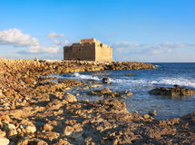 Pafos Harbour Castle in Cyprus, panoramic image Royalty Free Stock Image