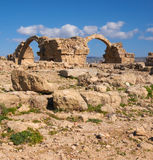 Pafos Harbour Castle in Cyprus, panoramic image Royalty Free Stock Photography