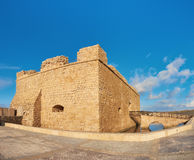 Pafos Harbour Castle in Pathos city on Cyprus, panoramic image Stock Photo