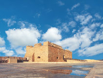 Pafos Harbour Castle in Pathos city on Cyprus, panoramic image Stock Photos