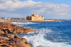 Pafos Harbour Castle in Pathos, Cyprus, Greece Royalty Free Stock Image