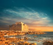 Pafos Harbour Castle in Pathos, Cyprus. Pafos Harbour Castle, or Turkish Castle in Pathos, Cyprus. This image is toned Royalty Free Stock Photos
