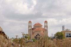 Pafos and its mighty Cathedral. Stock Photo