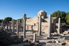 Pafos Ruins ans Old Orthodox Church Royalty Free Stock Image