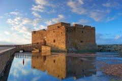 Pafos schronienia kasztel w Cypr Obrazy Stock