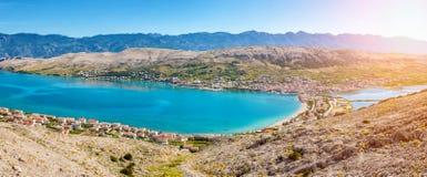 Pag克罗地亚海岛鸟瞰图  免版税库存照片